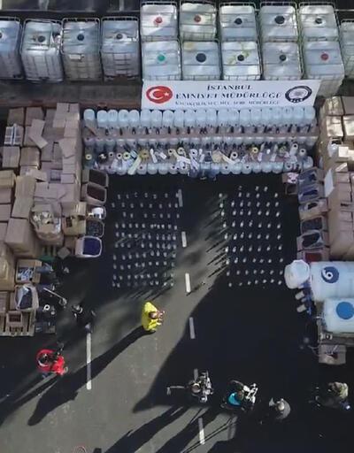 İstanbul'da ele geçirilen 250 ton sahte içki sergilendi
