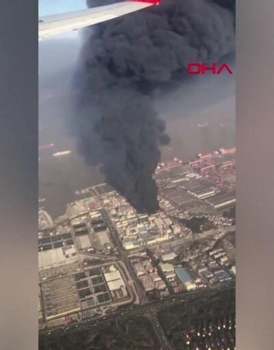 Çin'de fabrikada dev yangın uçaktan böyle görüntülendi