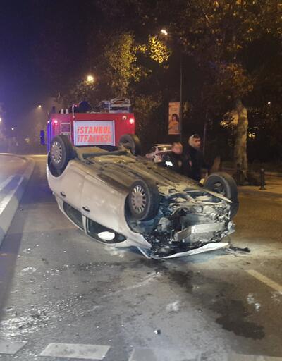 Üniversite öğrencileri, polis aracına çarpıp takla attı!