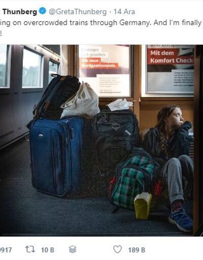 Trende yer bulamayan Greta Thunberg'e demir yolu şirketinden 'birinci sınıf bilet' tepkisi