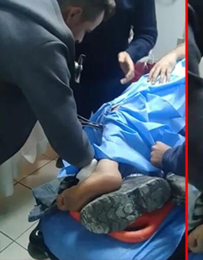 Bacağına çelik kanca saplanan işçi tedavi altına alındı