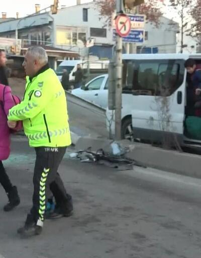 Kazaya karışan otomobil takla attı