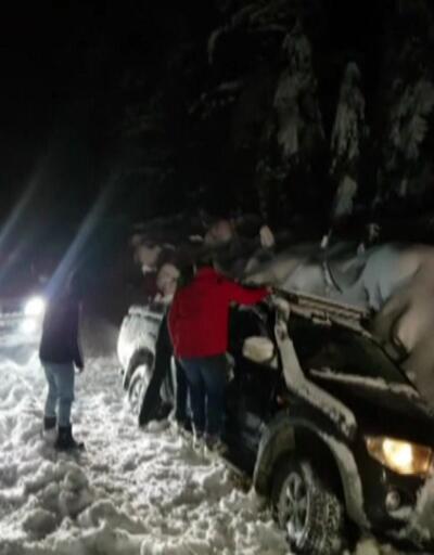 Kar esir aldı, 3 saatte kurtarıldılar