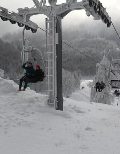 Kayak merkezlerine tatilci akını