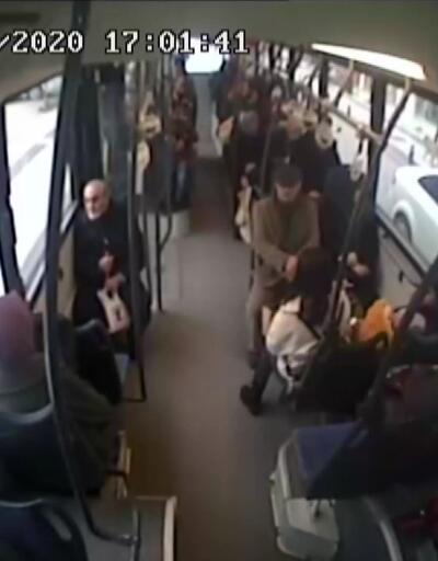 Otobüs hatalı dönüş yapan otomobile çarptı, yolcular yere savruldu