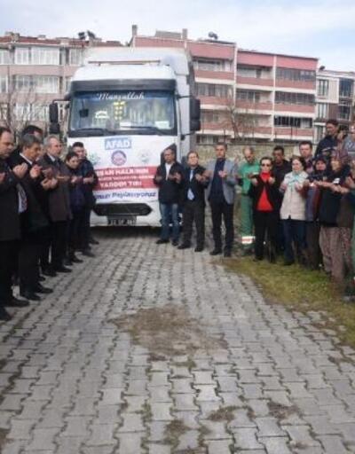 Keşan'da, depremzedeler için toplanan yardımlar dualarla yollandı