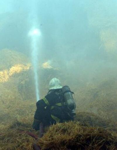 Kahramanmaraş'ta çiftliğin saman deposunda yangın