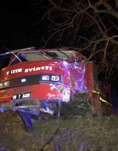İtfaiye aracı takla attı: 2 yaralı