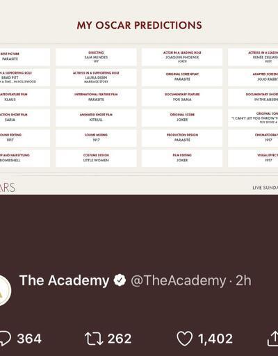 Akademi, yanlışlıkla Oscar kazanan isimleri mi açıkladı? Paylaşıp hemen sildiler