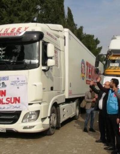 Mardin'den deprem bölgelerine ve İdlib'e 12 TIR'lık insani yardım