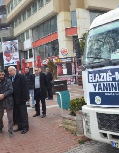 Nazilli'de depremzedeler için toplanan yardımlar yola çıktı