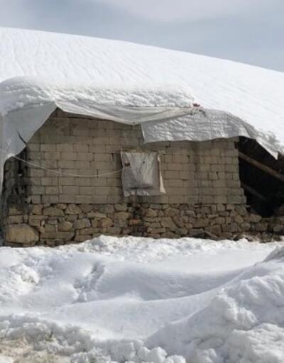 Kar ağırlığına dayanmayan ahır çöktü