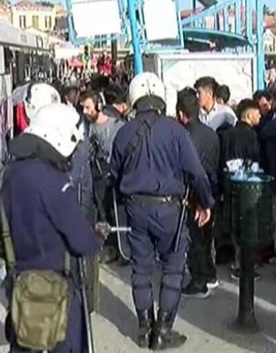 Göçmenler ve Yunan polisi arasında gerginlik