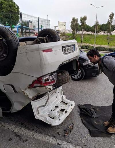 Ehliyetsiz sürücü takla attı, kaza sonrası yaptıkları şaşkına çevirdi