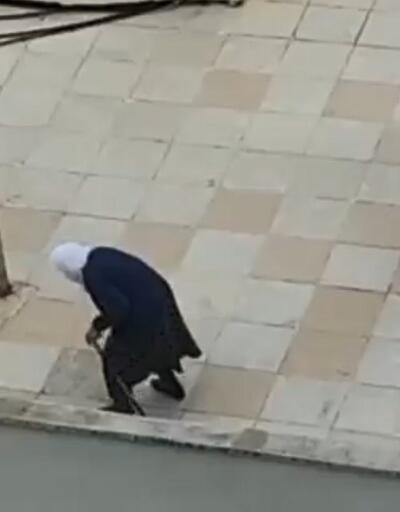 Dışarı çıkamayınca terasta yürüyüş yaptı