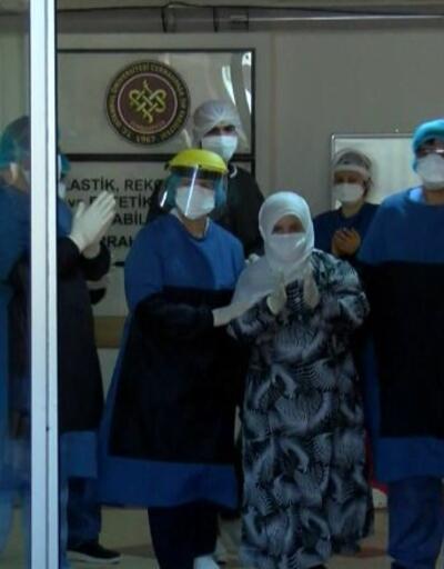 Hastaneden alkışlarla uğurlandılar