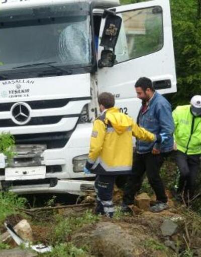 Sürücünün kontrolünü kaybettiği kamyon yeşil alana girdi: 1 yaralı