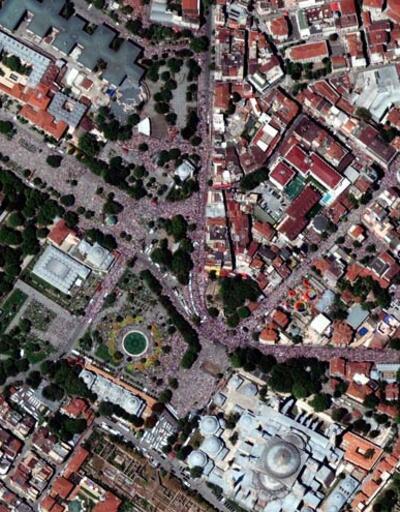 Ayasofya'nın açılışı uydudan böyle görüntülendi