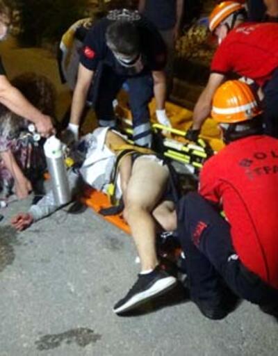 Düştüğü bisikletin gidonu bacağına saplandı