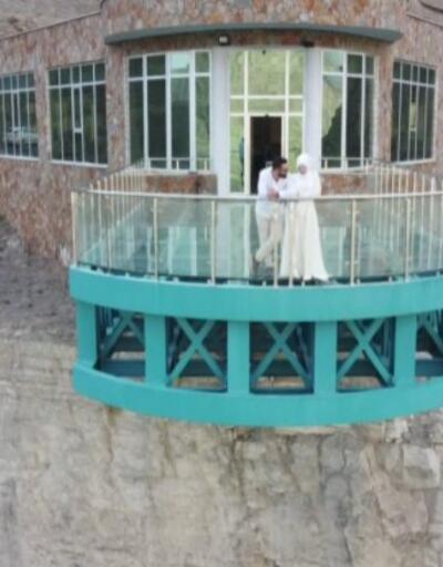 Tortum Gölü üzerindeki seyir terası turistlerin ilgi odağı | Video