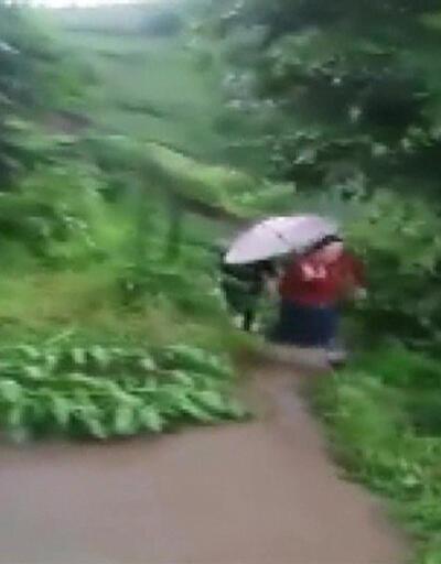 Son dakika... Trabzon'daki heyelan anı kamerada | Video