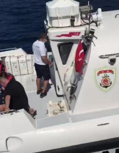 Son dakika... Teknede düşüp yaralanan turist kadına sahil güvenlik yardım etti