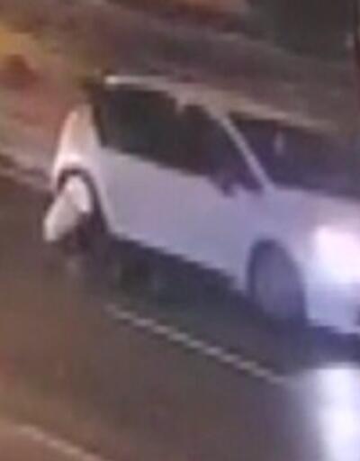 Kadını arabadan attı, serbest kaldı | Video