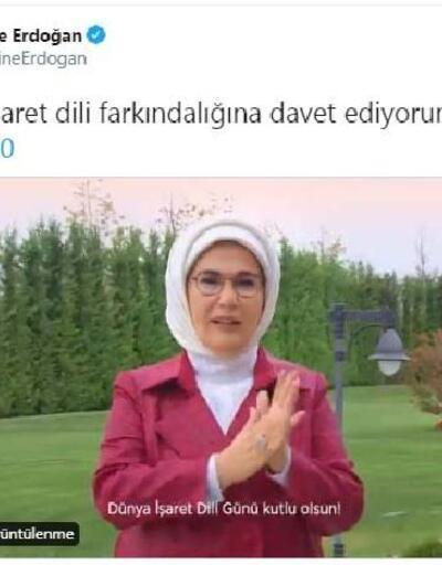 Son dakika.. Emine Erdoğan'dan, 'Dünya İşaret Dili Günü' paylaşımı