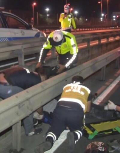 Direksiyon hakimiyetini kaybeden motorcu kaza yaptı | Video