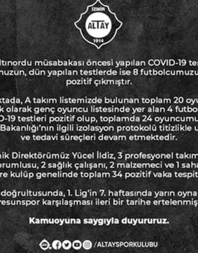 Son dakika... Altay'da 34 koronavirüs vakası! Maç ertelendi