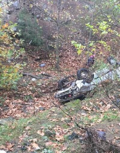 Şarampole devrilen aracın sürücüsü yaralandı