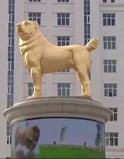 Devlet başkanı köpeğinin heykelini yaptırdı   Video