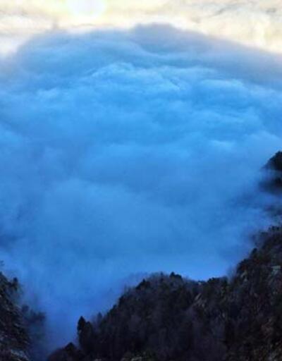 Bursa'nın üzerini kaplayan bulutlar, görsel şölen oluşturdu