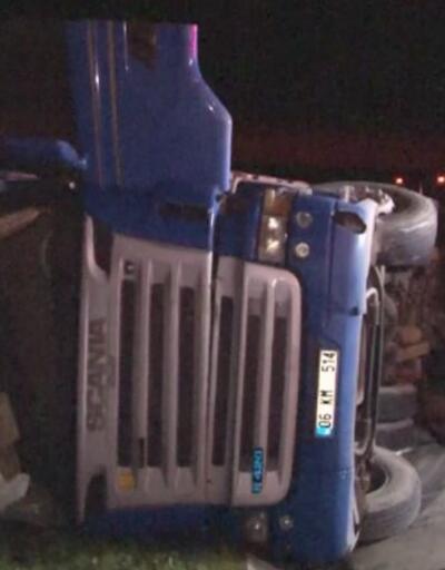 TIR su kanalına devrildi, sürücü hayatını kaybetti | Video