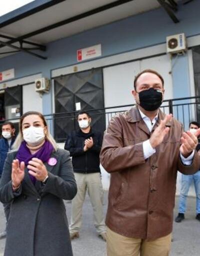 Çiğli Belediyesi şantiyesinde yeni yıl kutlaması
