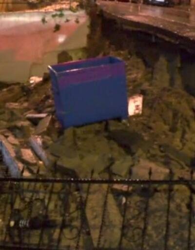 Üsküdar'da istinat duvarı çöktü   Video