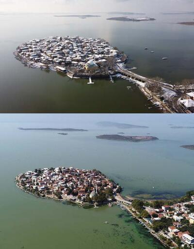 Türkiye'nin Venedik'i Gölyazı'nın yaz ve kış hali aynı karede