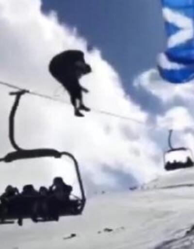 Paraşüt teleferik teline takıldı! O anlar kamerada