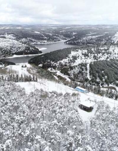 Kent ormanlarındaki eşsiz kar manzarası havadan fotoğraflandı