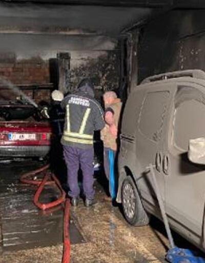 Oto tamirhanesinin yandığını gören iş yeri sahibi sinir krizi geçirdi