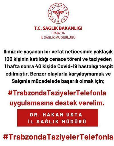 'Kırmızı' kategorideki Trabzon'da 'taziyeler telefonda' çağrısı