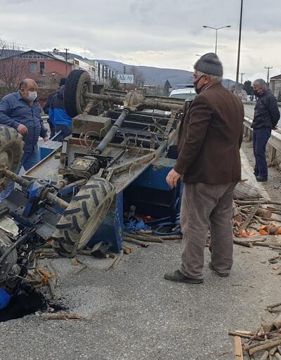 Patpatın tekeri yerinden çıktı, sürücü yaralandı