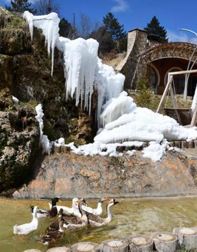 """Sivas'taki """"Hobbit Evleri""""nde kış ve baharın güzellikleri bir arada"""