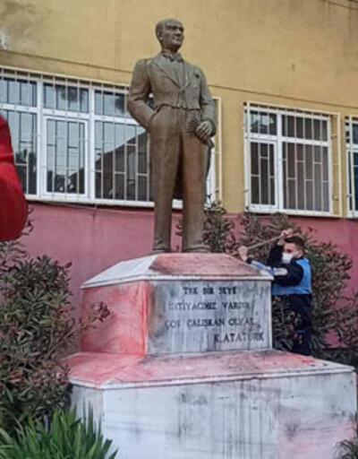 Atatürk büstüne çirkin saldırıda flaş gelişme: Tutuklandı