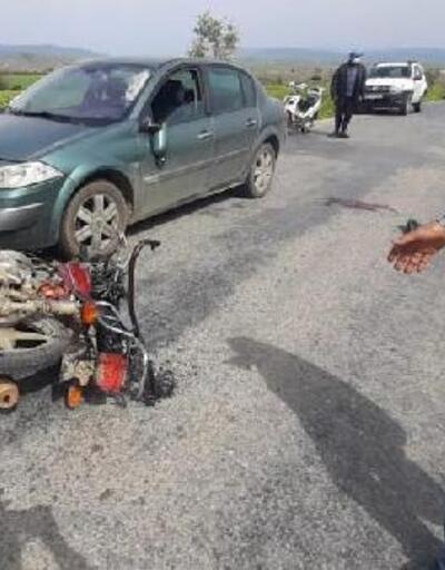 Motosikletle otomobil karşılıklı çarpıştı: 1 yaralı