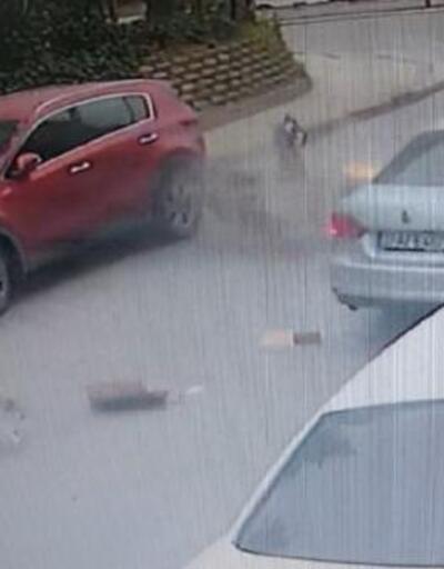 Kuryenin ölümden döndüğü kaza kamerada