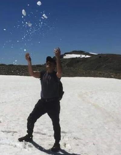 Huzurlu Yaylasında ilkbaharda kar keyfi