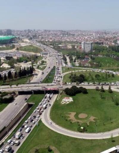 Bursa'da, kontrol noktasında 5 kilometrelik araç kuyruğu