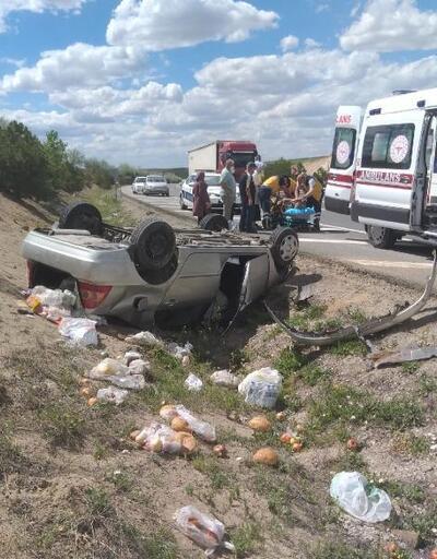 Kırıkkale'de takla atan otomobilin sürücüsü yaralandı