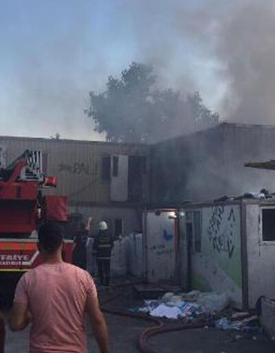 İşçilerin kaldığı konteynerde yangın